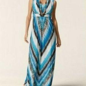 Chico's Blue Maxi Dress Size 0 (Small Size 4)